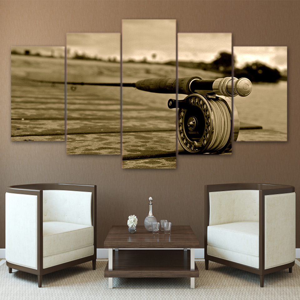 Canvas Painting Wall Art Home Decor Frame 5 Pieces Outdoor Sports Fishing Rods Landscape Living Room Modern HD Printed Pictures
