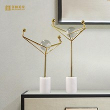 Modern creative metal geometric Crystal ball statue home decor crafts room decoration objects office study figurine