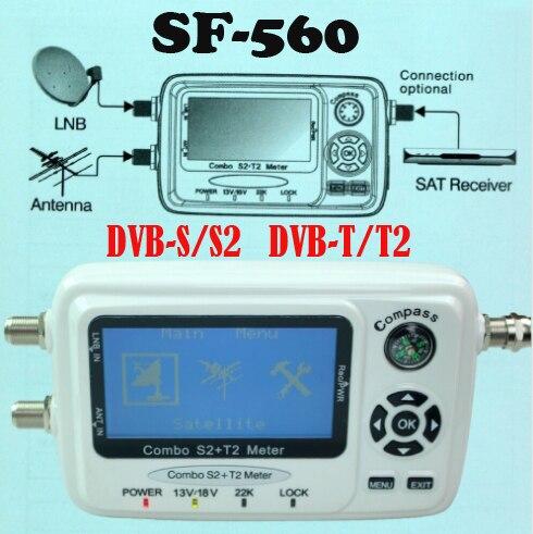 Numérique Satellite Finder mètre SF 560 Compteur De Signal SatFinder avec Boussole DVB-S2 dvb-T2 singal combo SF-560