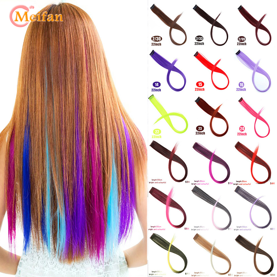 MEIFAN Long Straight Streak Colorful Fake Hairpieces Clip In Hair Rainbow Hair Extensions Synthetic Purple Blue Color Hair Piece