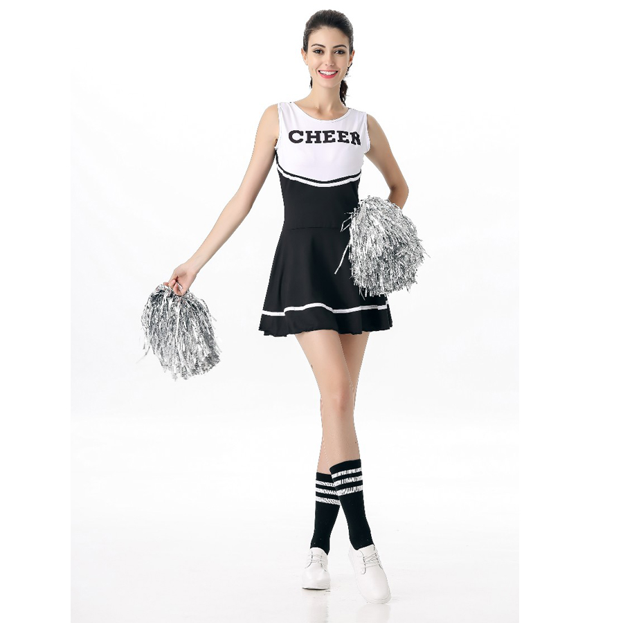 Hot Sale High School Girls Cheerleading Costume Sleeveless Cheerleader Uniform Glee Style Cheerleading Dress XS-XL