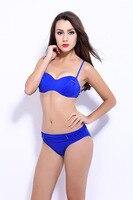 2017 New Sexy Bikini Women Low Waist Swimsuit Solid Color Design Swimwear Ladies Push Up Bikinis