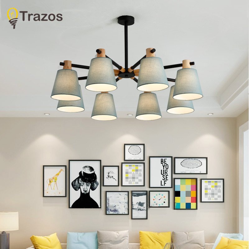 TRAZOS Nordic Chandelier E27 With Iron Lampshade For Living Room Suspendsion Lighting Fixtures Lamparas Colgantes Wooden Lustre : 91lifestyle