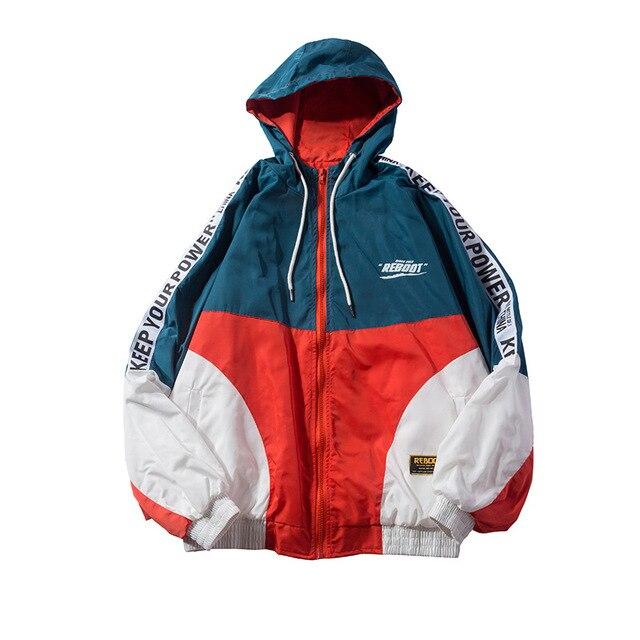 14daacfd 2018 autumn spring jacket men Streetwear HipHop Windbreaker couples unisex  casual Vintage sports jacket coat hooded men coat
