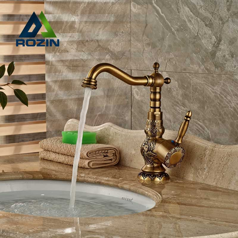 купить Brass Antique Single Lever Basin Mixer Faucet Deck Mounted Bathroom Kitchen Hot and Cold Water Tap 360 Rotation в интернет-магазине