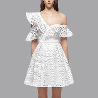 Ruffle Short Sleeve Dress For Women White Lace Mini Cute Pink Dress With V Neck Evening Beach One Shoulder Vestidos