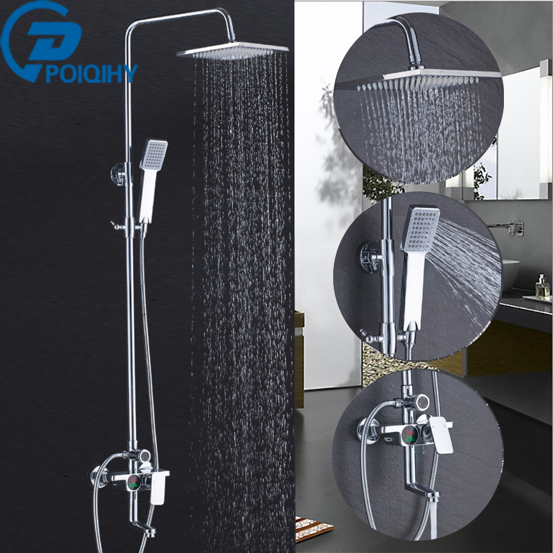 Shower Faucet Chrome Bathroom Rainfall Brass Head Temperature Screen Shower Set Faucet Tub With Handheld Sprayer Mixer Tap