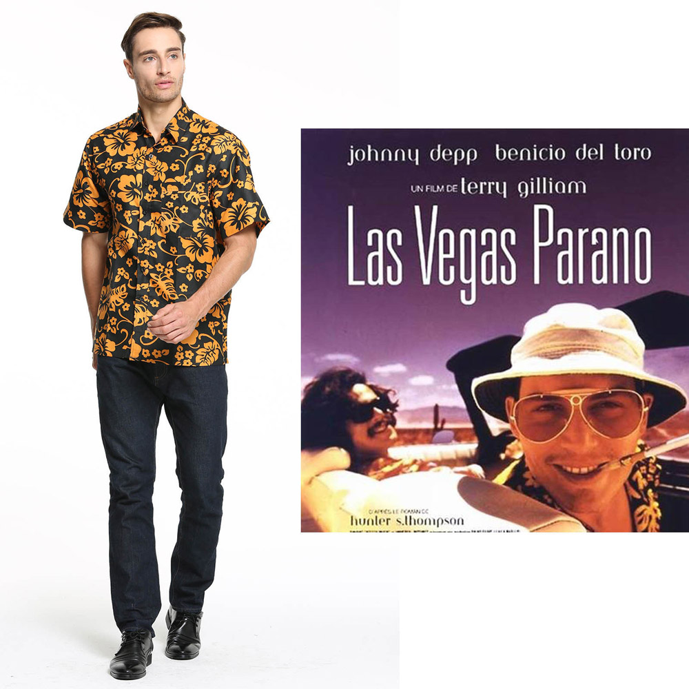 Movie Fear and Loathing in Las Vegas Costumes Raoul Duke Shirt Halloween Party Cosplay Costume
