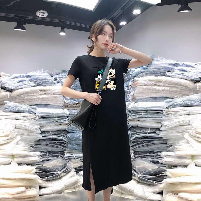 Summer Cartoon print women dress short sleeve O-Neck Medium long Mickey Mouse dresses Casual clothes 19 vestidos 9