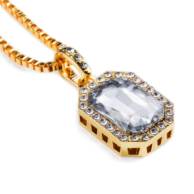 New Mens Rick Ross Style Cz Diamand Faux Lab Red Pendant Necklace 29inch Box Chain Hip Hop Jewelry Birthday Gift N214