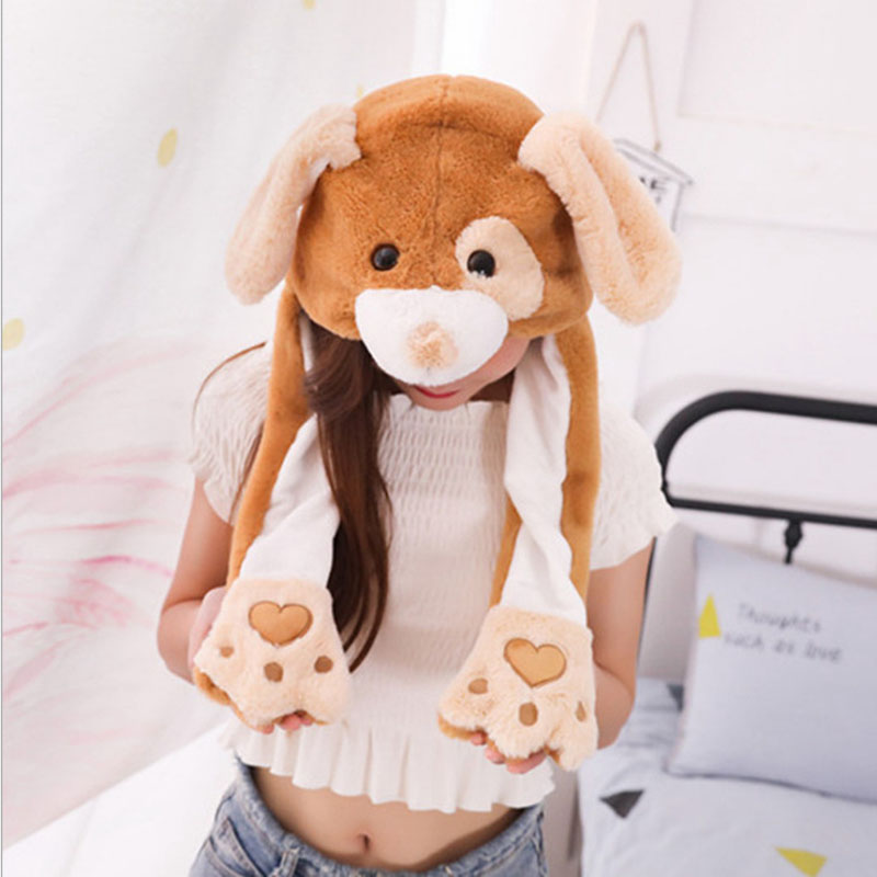Women Moving Hat Rabbit Ears Cap Plush Sweet Cute Airbag Cap Cartoon Plush Doll Toy Pikachu Stitch Hat Children Gift Cosplay Hat