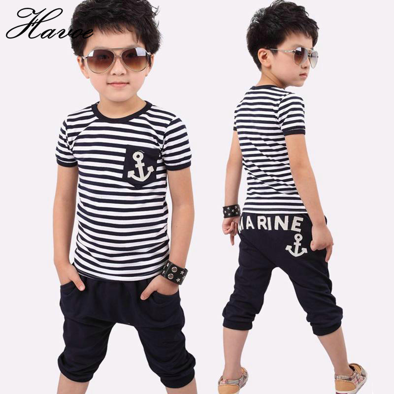 Summer Children Clothing Set Kids Clothes Navy Short Sleeve Pullover Striped Sports Suit Hot Sale New 2018 Casual Boys Clothes 2017 new boys clothing set camouflage 3 9t boy sports suits kids clothes suit cotton boys tracksuit teenage costume long sleeve
