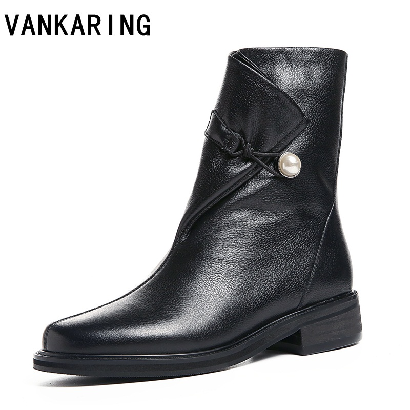 VANKARING High quality soft leather women ankle boots square heel slip-on winter autumn boots ladies snow boots zapatos mujer