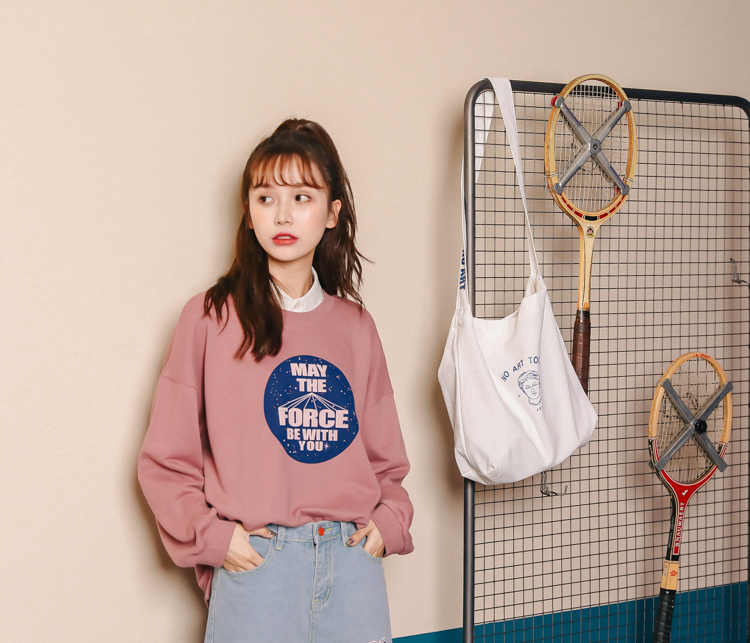 Casual Women's Sweatshirts Japanese Harajuku Ulzzang Loose Casual Letter  Sweatshirt Female Korean Kawaii Cute Clothing For Women
