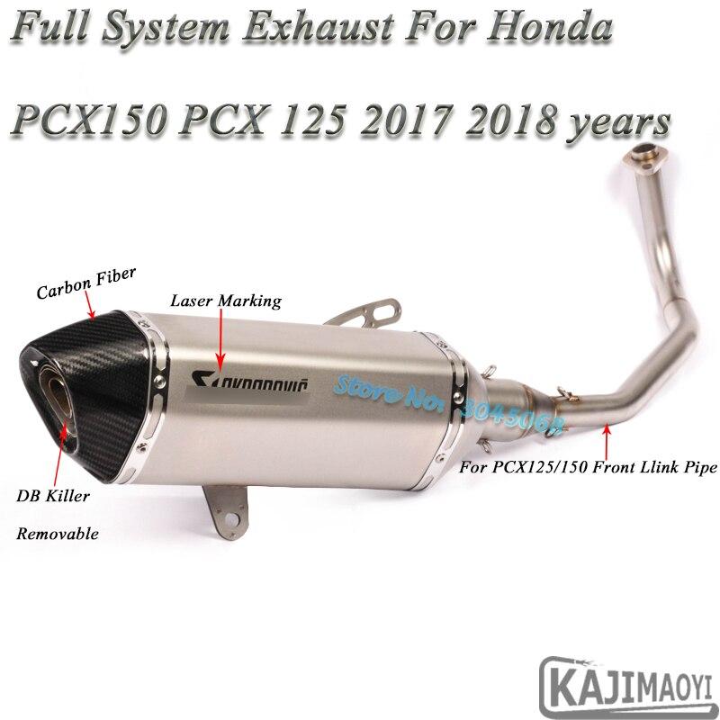 PCX 150 moto d'échappement système complet sans lacet pour Honda PCX125 PCX150 2017 18 modifié silencieux DB tueur avant moyen lien tuyau