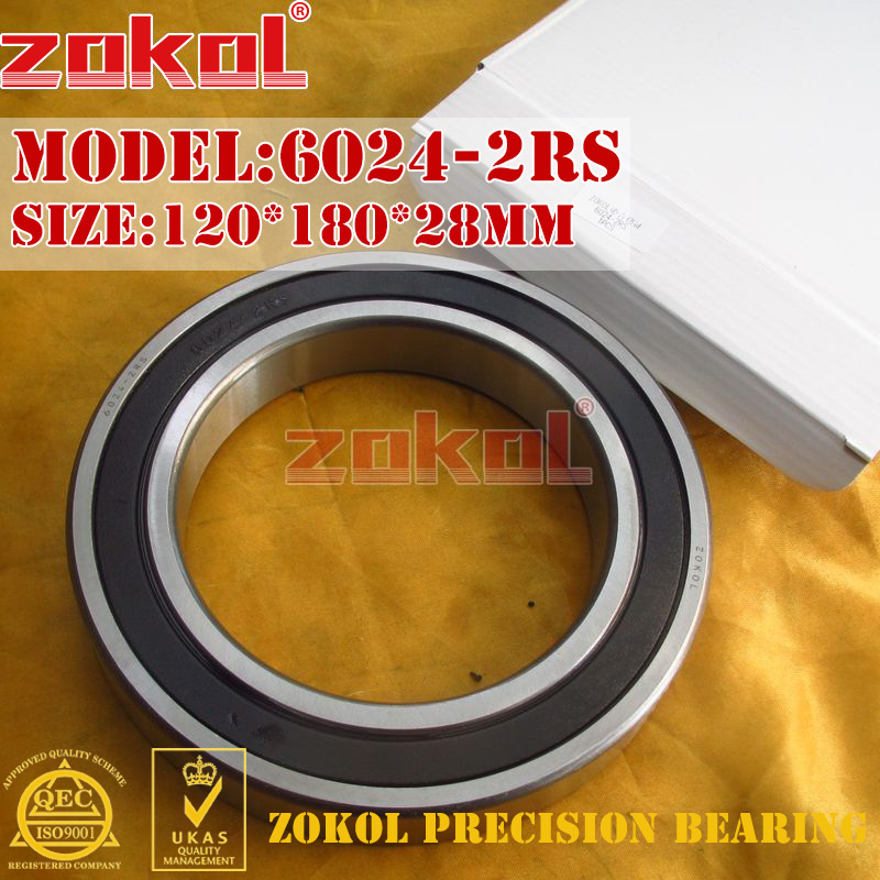 ZOKOL 6024RS bearing 6024 2RS 180124 6024-2RS Deep Groove ball bearing 120*180*28mm zokol 6314 2rs bearing 6314 2rs 180314 deep groove ball bearing 70 150 35mm