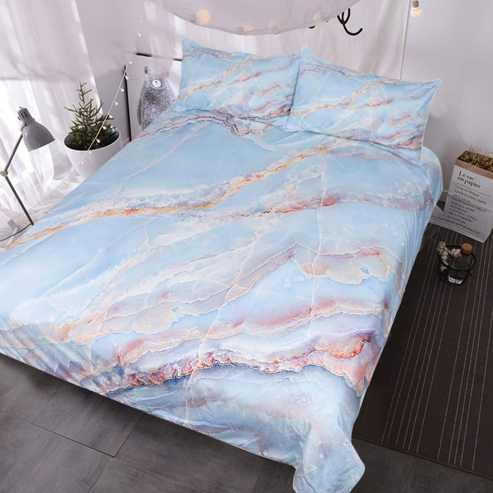 Blue White Gold Pink Marble Texture Bedding Natural Stone Pattern Duvet Cover 3 Piece Chic Luxury Bedding Set