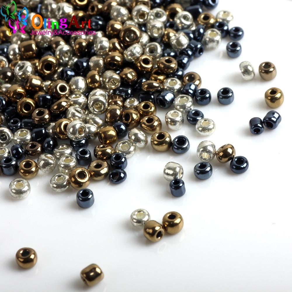 AAA 2MM 5400pcs/bag Metal mixed multicolor Czech Glass Seed beads Spacer women earrings Bracelet choker necklace jewelry making