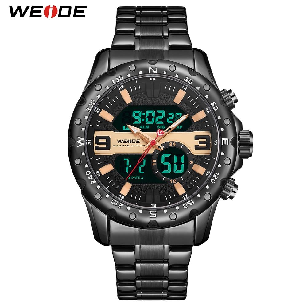 WEIDE Luxury Brand Men Quartz Digital Calendar Chronograph Sport Military Stainless Steel Strap Wrist Watch Relogio masculino