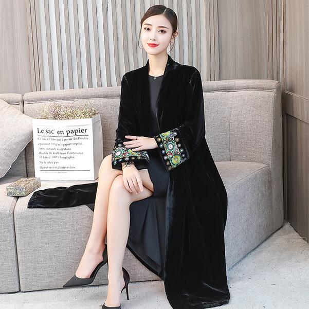 b3d4c49ec0a Elegant Cardigan Velour Dress 2019 Vintage Beaded Velvet Dress Long Sleeve  Velour Winter Dress Women Midi Dress DC296