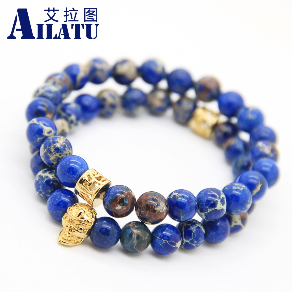 Ailatu Free Shipping Exquisite Nice Gifts 8mm Sea Sediment Imperial Stone Beads With High Grade Plated Skull Bracelet