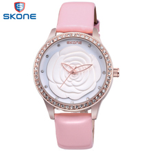 SKONE Trend Ladies's Flower Dial Watch Pink Rhinestone Watch Ladies Leather-based Strap Relogios Feminino 2017 Feminine Wristwatch