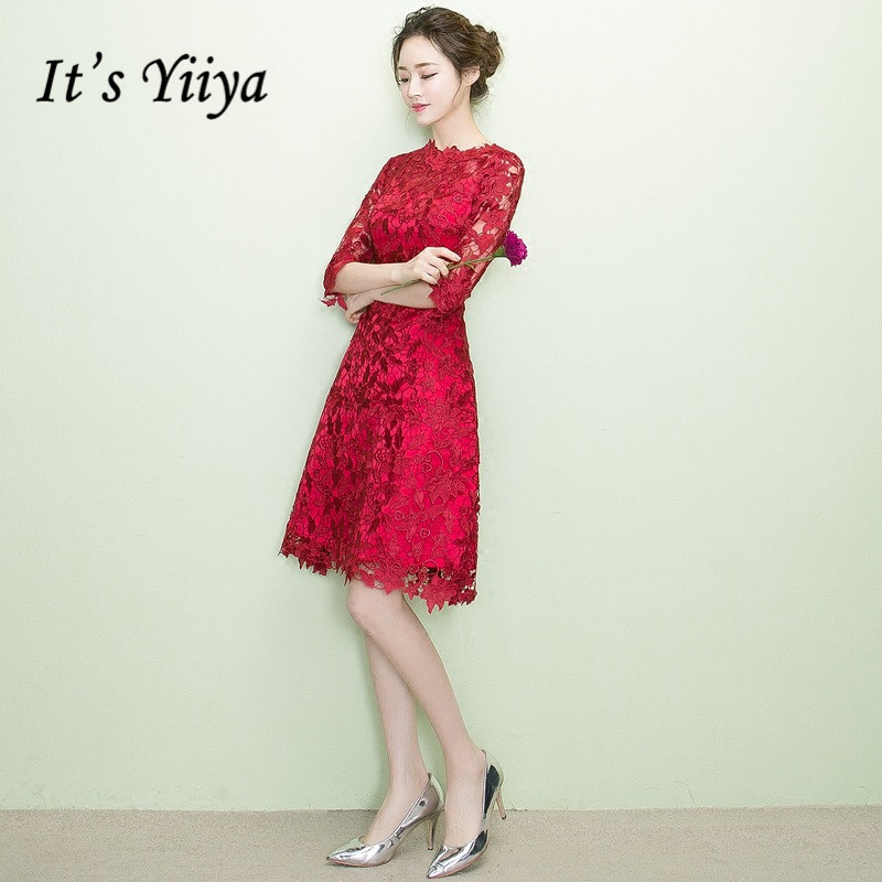 It's YiiYa Sales Red Half Sleeve Cocktail Dresses Elegant Flower Pattern Lace Charming Party Knee Length Cocktail Gown X197