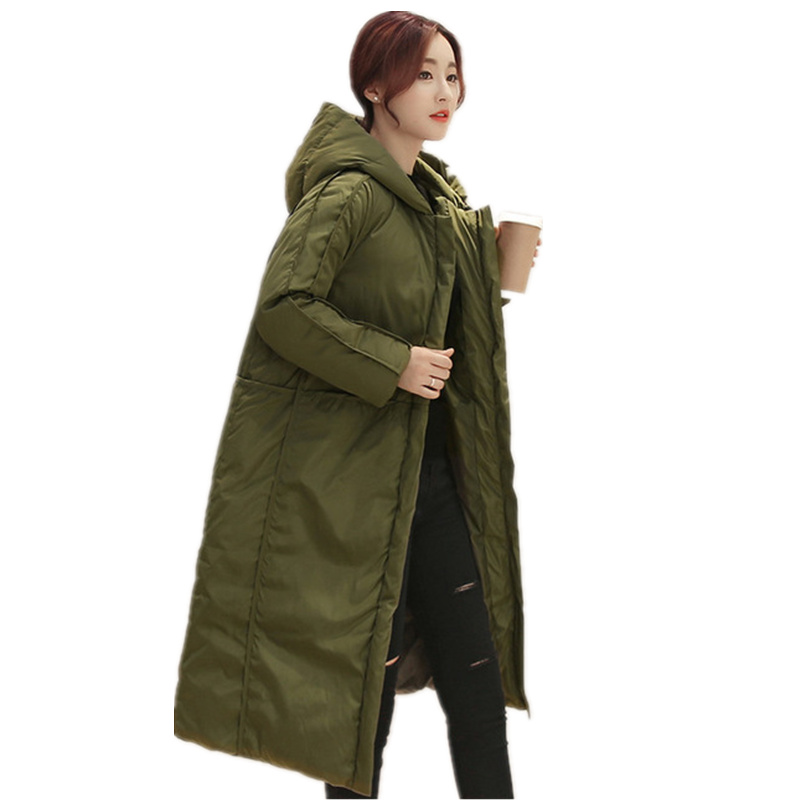 Winter Jacket Women Maxi Coats Manteau Femme Thicken Cotton Wadded Jacket Hooded Army Green Military Jackets Coat Women C2745 winter jacket women maxi coats with gloves casual cotton coat women hooded parkas wadded padded jacket manteau femme parka c3340