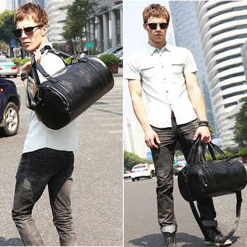 New Men Travel Duffle Bag PU Leather Men\'s Travel Bags Black Shoulder Handbag Round Bucket Shape Messenger Bag Tote JXY814