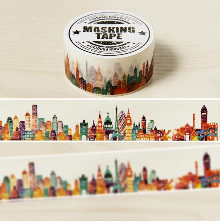 2cm Wide The Beautiful City Washi Tape Adhesive Tape DIY Scrapbooking Sticker Label Masking Craft Tape light color daily plan washi tape adhesive tape diy scrapbooking sticker label masking craft tape