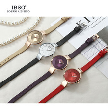 Women Ultra-Thin Quartz Stainless Steel Mesh And Leather Strap Waterproof Watch (4 colors)