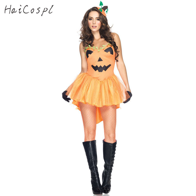 Halloween Pumpkin Costume Adult Women Sexy Braces Dress With Hair Band Carnival Cosplay Party Performance Suit