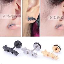 Male Titanium stainless steel three five point star earrings Men student screws small stud earring female piercing jewelry women