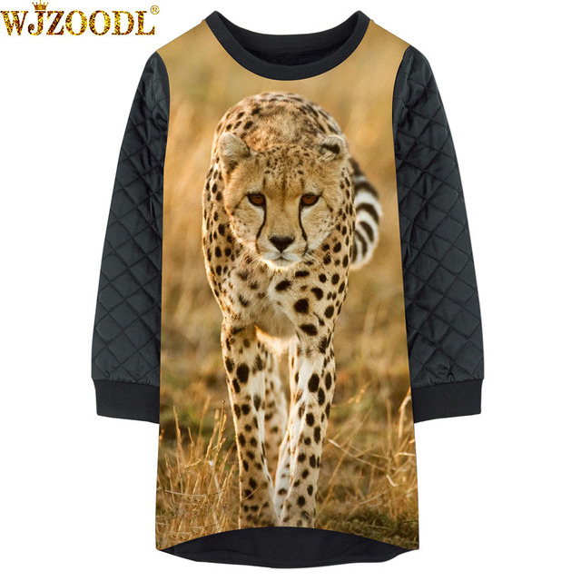 New Autumn Winter Girls Kids Dress 3d Animal Leopard Print Sweater