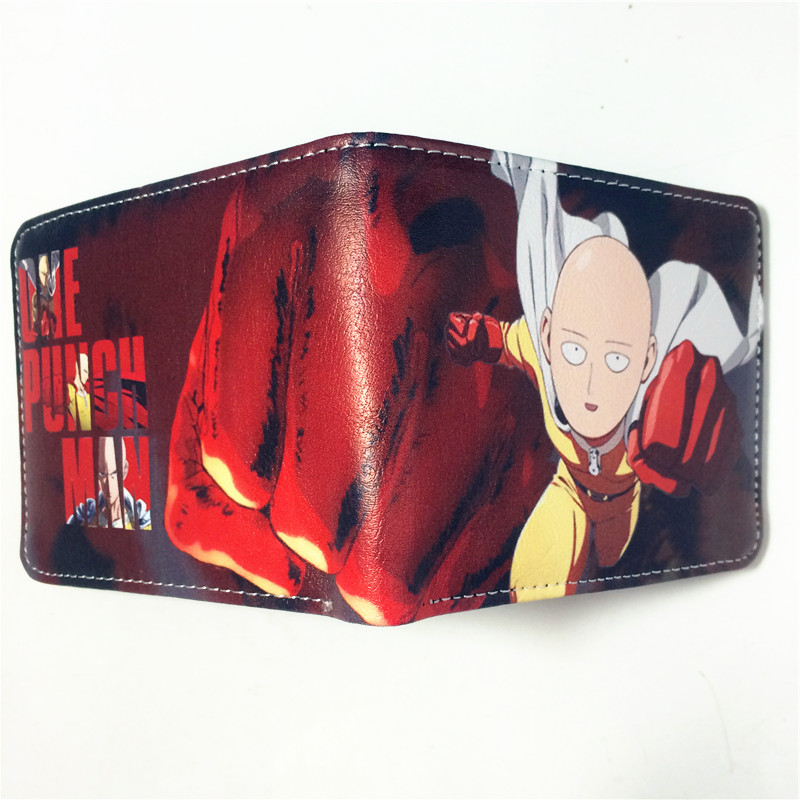 Japanese Anime One Punch Man Saitama Characters Synthetic Credit Card Holder Short Bifold Wallet Purse W365 2016 anime one punch man wallets cute pu short cartoon long purse ab195