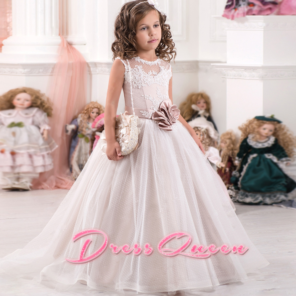 2017 New Flower Girl Dresses Appliques Handmade Flowers O-Neck Lace Up Sash Ball Gown First Communion Gowns Custom Made Vestidos pageant dresses for girl flowers o neck lace up bow sash sleeveless ball gown vestidos longo custom made first communion gown