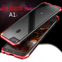 For Xiaomi Mi A1 Case Mi A1 Plastic Cover Mi 5X Case PC Metal Tempered Glass