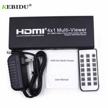 Kebidu 1080P 3D 4x1 HDMI Multi Viewer HDMI Quad Screen Real Time Multi Viewer HDMI Splitter Seamless Switcher with IR Control