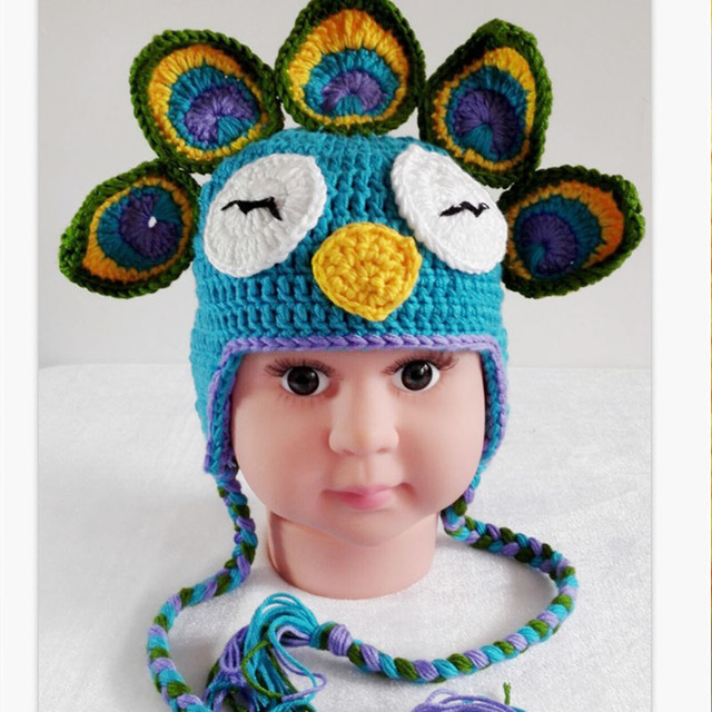 6c41d628595 Girls Crochet Hat Cap for Newborn Baby Handmade Knitted Beret Hat Girls Flower  Beanie Caps Cute Animal Peacock Baby Spring Hats
