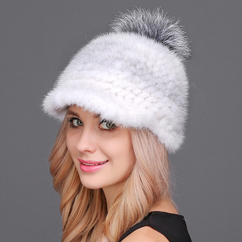 2018 New Winter Women Caps Real Mink Fur Nice Knitting Protected Ear And Head Cap With Cute Pompoms Female Russian Thick Hat