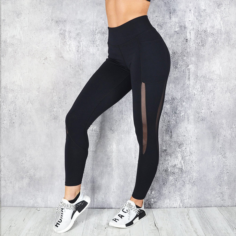 Women Mesh Pocket Fitness Leggings High Waist Legging Femme Mesh Patchwork Workout Leggings Feminina Jeggings 3