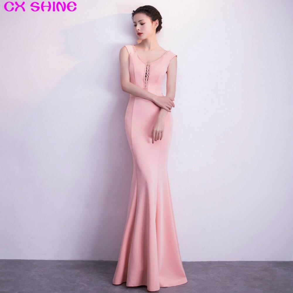 CX SHINE col en V perles laçage rose sirène trompette longues robes de soirée robe de soirée vin bleu robe de soirée de bal Vestidos
