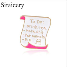 Sitaicery Book Pin Brooches Good Vibes Badges Read More Lapel Pins Funny Quote Jewelry Collection Lovers Gift