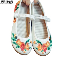 New Women S Pumps Floral Embroidered Canvas Wedges Med Heel Low Top Mary Jane Vintage Casual