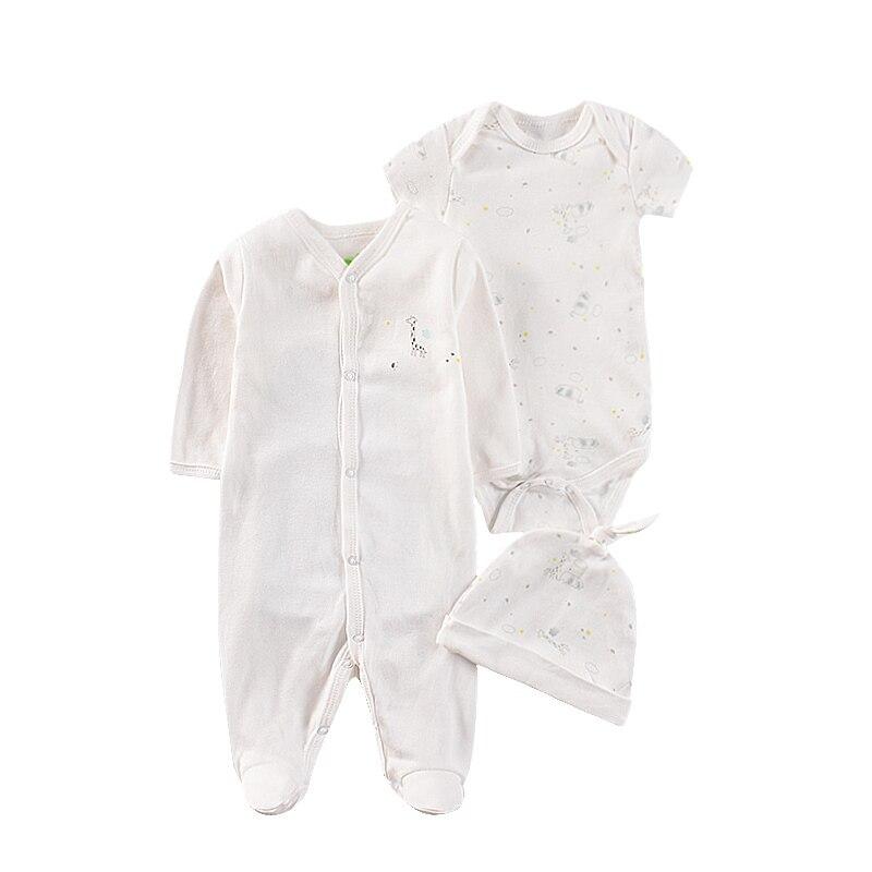 Детский комбинезон, комплект из 3 предметов, комбинезон с принтом жирафа для новорожденных мальчиков, хлопковая одежда, белый комбинезон + к...
