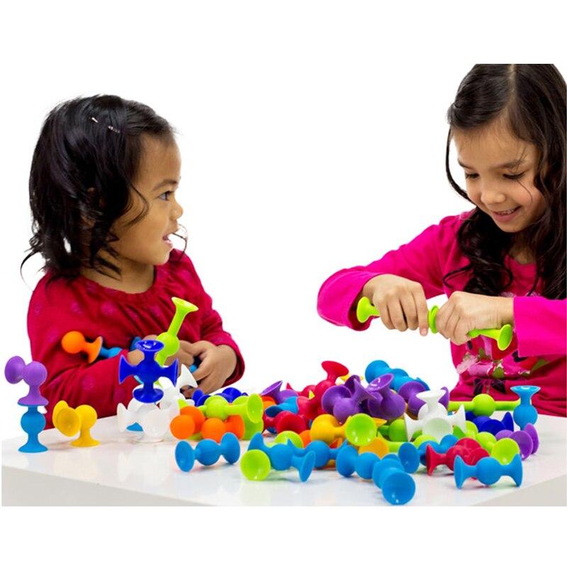New Soft Building Blocks Kids DIY Pop Sucker Funny Silicone Block Model Construction Boys Girls Toy For Children Christmas Gift