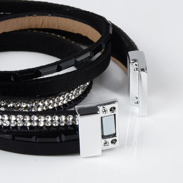 Candy Crystal Leather Boho Tassel Bracelet