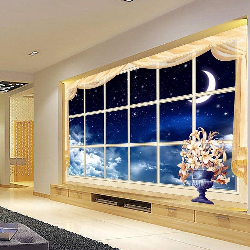 Custom 3D Photo Wall Paper Creative Window Star Sky Landscape Embossed Wall Paper Living Room Bedroom 3D Mural Wallpaper Modern modern natural 3d mural wallpaper out of the woods landscape photo prints on embossed wall paper 3d room wallpaper mural rolls