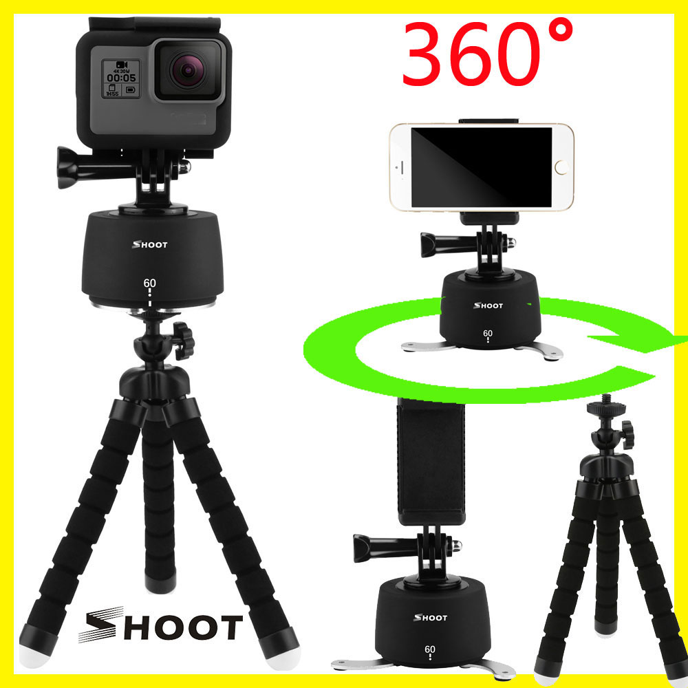 Professional 360 Degrees Time Lapse Head standard Dslr Rotator Tripod head for Phone SJCAM Gopro Hero 5 3 4 Session Yi 4k camera