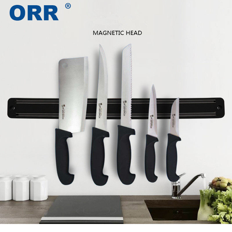 Knife Holder Wall Mounted Magnetic Kitchen Accessories Black Free Shipping 33.2/50cm ORR